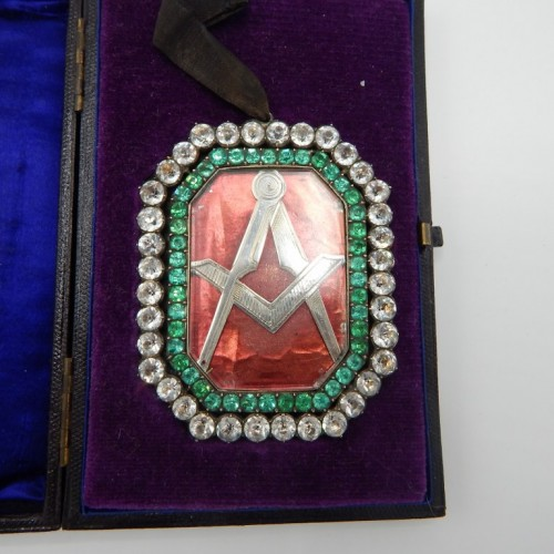 c. 1825 large silver jewel with stones