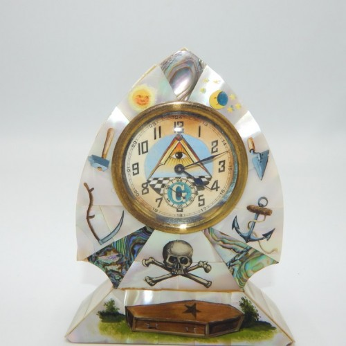 c.1900 table clock inlaid with mother-of-pearl