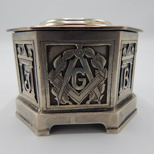 c.1875 English silver table clock