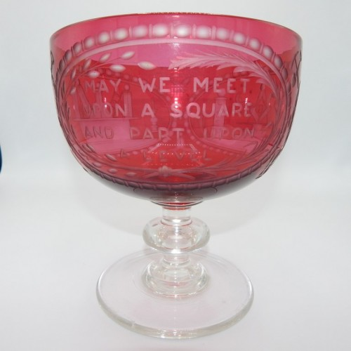 c. 1850 Large goblet of red glass