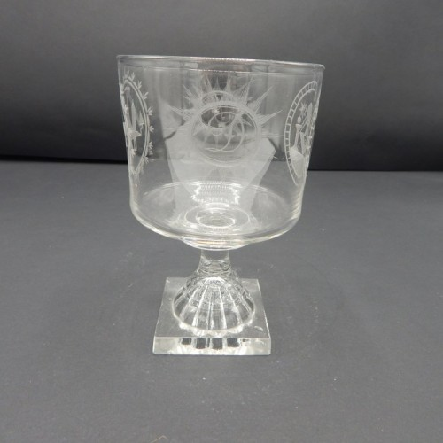 19 century English engraved glass on a base of crystal no. 30