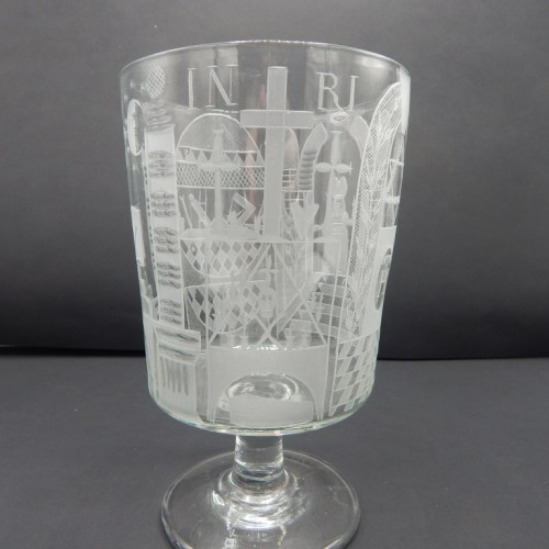 large 19th century goblet on foot, richly engraved 32