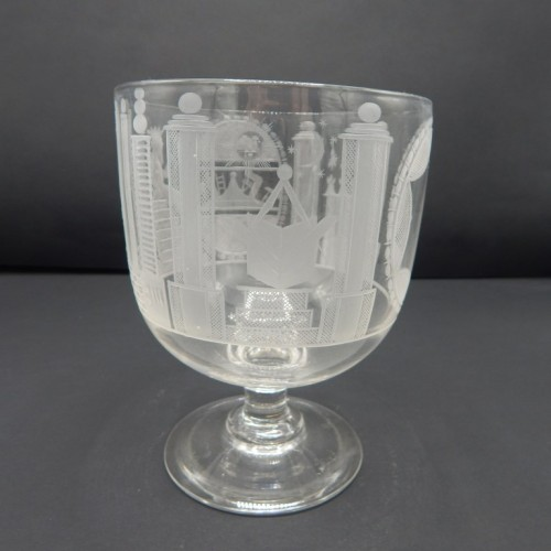 early 19th century English beautifully engraved goblet on feet no 28