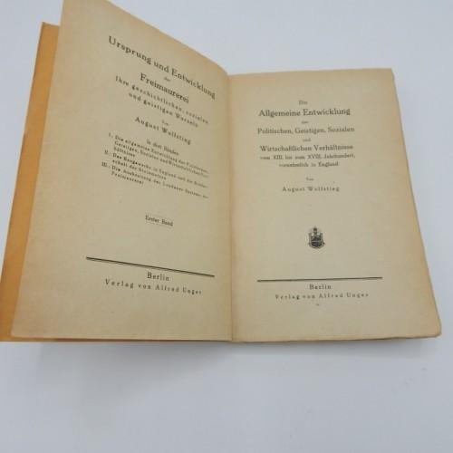 1920 Wolfstieg Uhrsprung und Entwicklung der Freimaurerei  eerste druk
