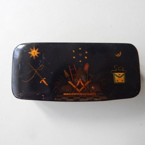 tobacco box-snuff box 9 hand-painted Masonic allegory