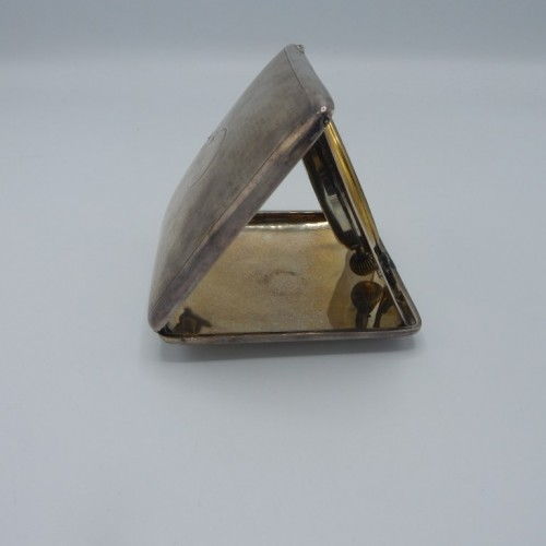 antique silver travel alarm clock-foldable