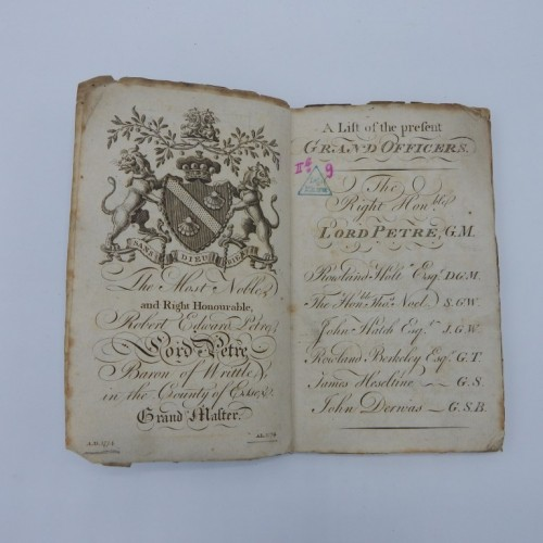 1774 a list of regular lodges Unted Grand Lodge of England