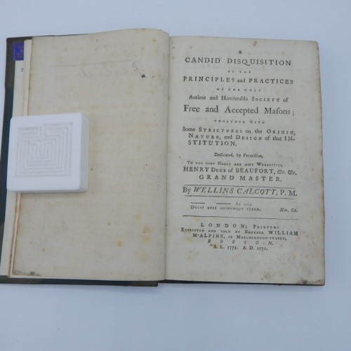 1772 disquisition of the principles and practices of the most ancient and honourable society of Free and Accepted Masons