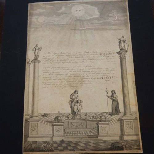 18e eeuws diploma Duitse loge in Londen