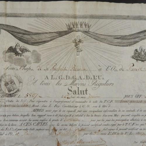 1807 Rose Croix  La Parfaite Reunion Paris