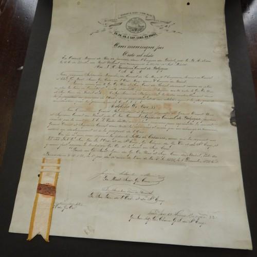 Certificate Belgium- Brazil 1878 33e degree