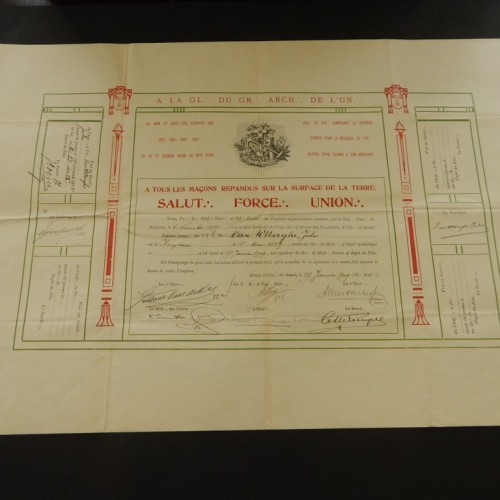 1909 2 diploma's 9+14+15 Degree Brussel
