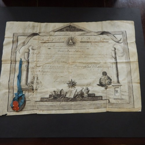 1802 hand made diploma Marseille Loge La Paix et la Charite