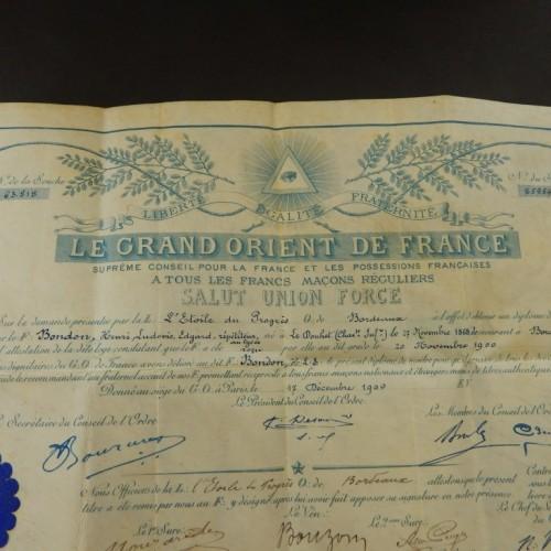 1930 diplome grand Le Orient de France