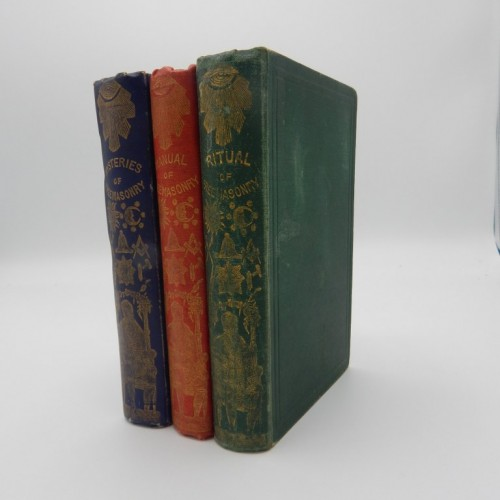 c. 1850 3 ritual books  masonic binding