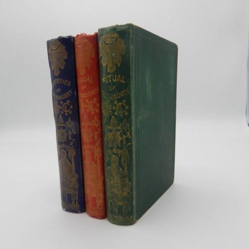 c. 1850 3 ritual books  masonic binding
