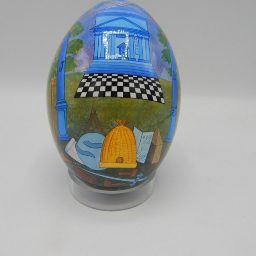 hand painted ostrich egg with temple of Solomon