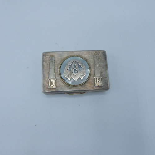 snuff box 16 silver with inlaid mother-of-pearl