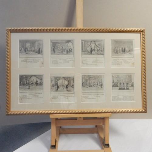kopergravure 1780 met 8 inwijding afbeeldingen