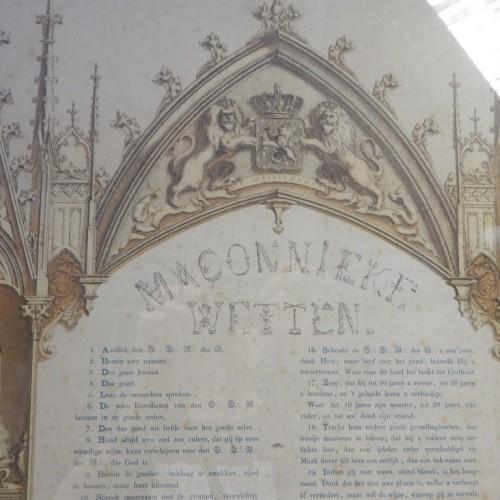 steendruk c. 1850 Maçonnieke Wetten