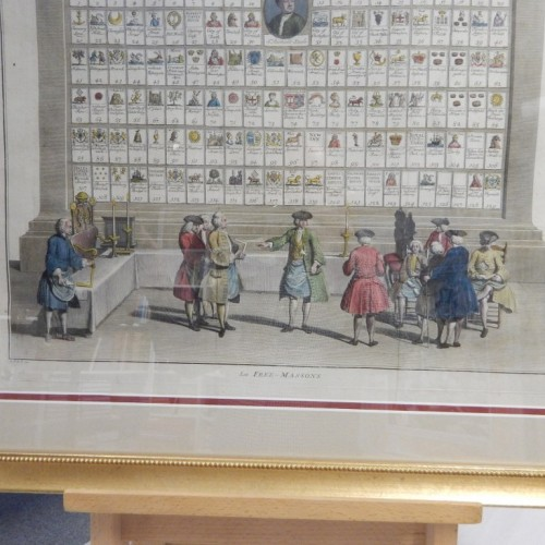 hand colourd copper engraving 1735 Wall panel B. Piccart