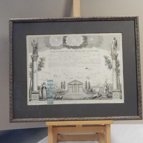 "framed diploma 1830 ""Amis sinceres du Roi"" Antwerpen"
