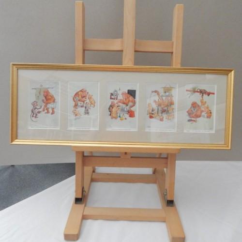 5 small cartoons about freemasonry framed