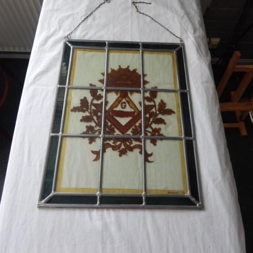 glas in loodraam geschilderd