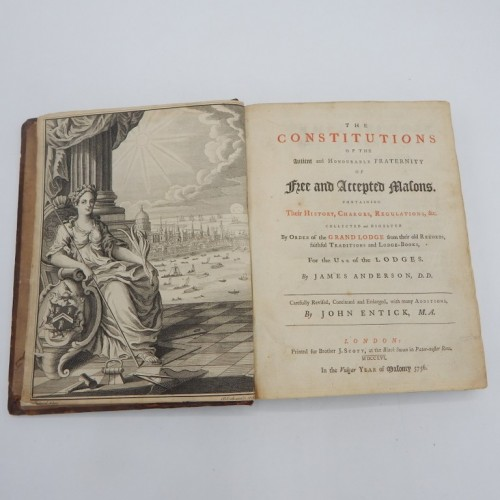 1756  The Constitutions of the Antient and Honourable Fraternity of Free and Accepted Masons
