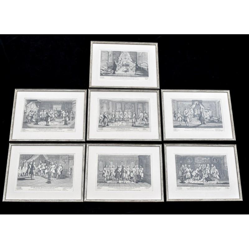 7 gravures Assemblée de Francs-Maçons des Maitres(5) et des Apprentifs(2).