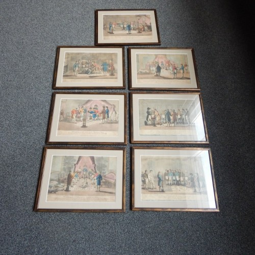"7 copper engravings, hand colored ""A Meeting of Free Masons"" 1809-1812"
