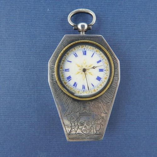 19th century silver masonic memento mori watch