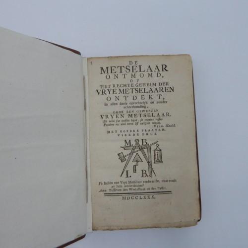1780 de Metselaar ontmomd of het regte geheim der vrij-metselaren ontdekt.